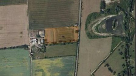 Aerial view of the site south of Fairfield and west of Stotfold Road.