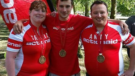 Tricia Cassidy, Martin Cassidy and Councillor Andy McGuinness at the finish line