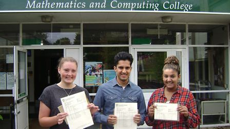 Fearnhill students, left to right, Hollie Pitts, Sunny Dosanjh and Nikita Mandere