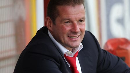 Graham Westley saw his new-look side win their opening game of the season. Photo: Harry Hubbard
