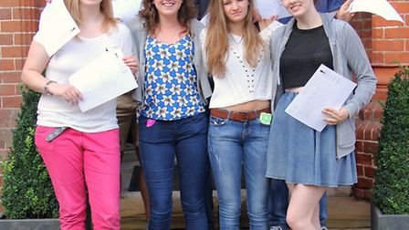 Friends' School sixth formers with their A-level results.