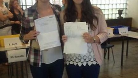 Barclay students Jodie Shackell and Lily Cato with their results