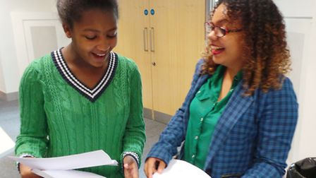 North Herts College students Imani and Paris receiving their results.