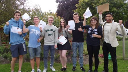 Students at Helena Romanes School in Dunmow celebrated getting their A-level results today.