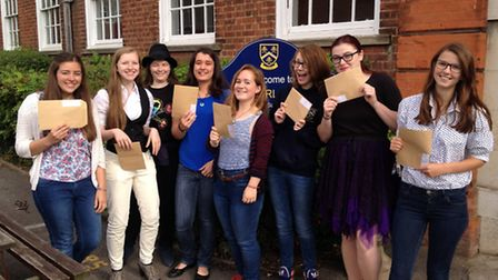 Students receiving their results at Hitchin Girls' School.