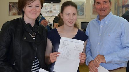 John Henry Newman headteacher Clive Matthew with students Chloe McBride and Bethany Auger