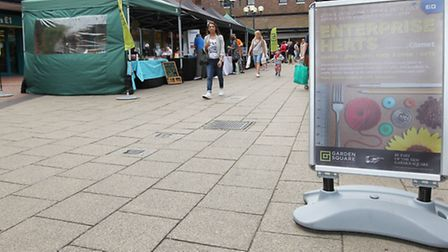 The Enterprise Herts stalls in the Garden Square Shopping Centre