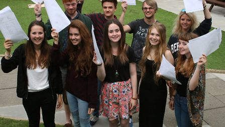 Priory School students with their results.