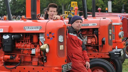 Mark and Peter Skipp with a couple of their Nuffield tractors.