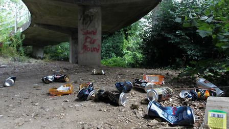 Litter and rubbish left by daytime drinkers by The Towers in Southgate Stevenage
