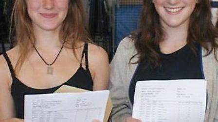 Twin sisters Bridget and Martha Huggins from Barnwell School, who got 11 grades at A* or A each