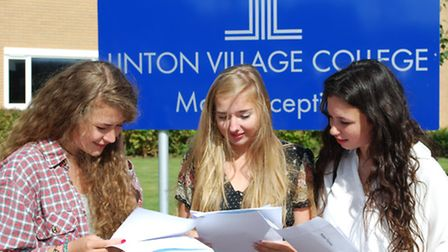From left, Mollie Gibbs, Emilie Carter and Robyn Thomas collecting their GCSE results at Linton Vill