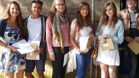 The John Henry Newman students receive their GCSE results. From L-R: Jessica Jackson, Lewis Bondu, R