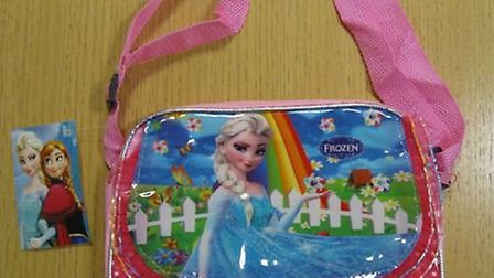 Fake Disney Frozen bag seized at Stansted Airport.
