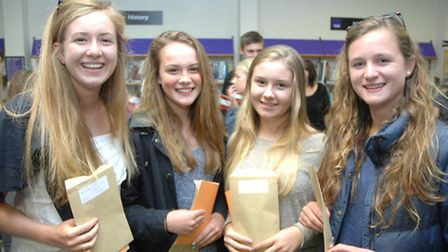 From left, Elen Butler, 16, Florence Pulfer, 16, Phoebe Starbuck, 16, and Kate Elbourn, 16, all from