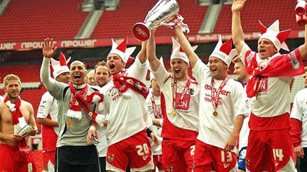 Stevenage's League 2 promotion winning team. Photo: Comet library