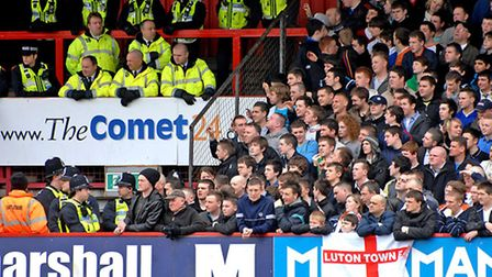 Luton Town fans in their club's 1-0 win at the Lamex in April 2010