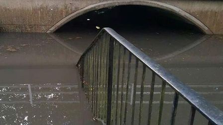 The underpass between Derby Way and Mildmay Road in Stevenage after flooding on Friday. Credit: Dani