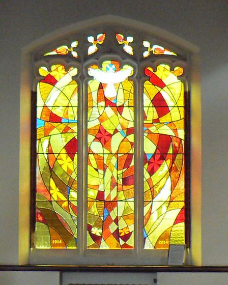 The new stained glass window at letchworth Central Methodist Church.