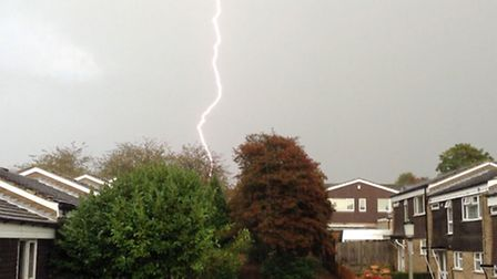 Lightning striking in Stevenage. Picture submitted by Brad Curtis, Friday, September 19, 2014