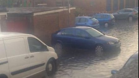 Flooding at The Hyde in Stevenage on Friday. Picture by @LJWall89 via Twitter.