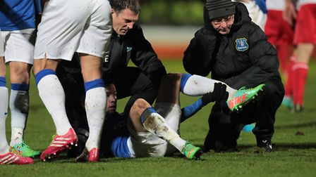 Bryan Oviedo of Everton suffered a double leg fracture against Stevenage. Photo: Harry Hubbard