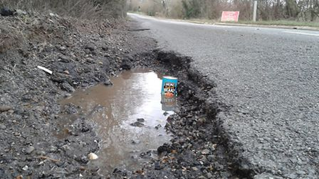 The pothole in Willian Road, Letchworth, which caused damage to Jackie Clark's car