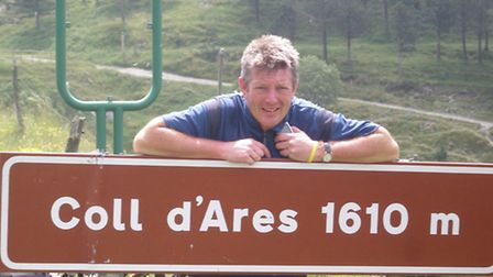 Martin Rowe at the Coll d'Ares - on the border between France and Spain - during a cycling challenge