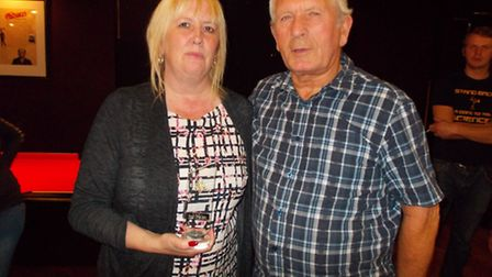 Winner of the female match Sharron Davies pictured with Elodie's granddad Colin Gray