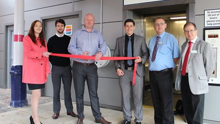 Representatives from First Capital Connect and Network Rail open the lifts at Hitchin station