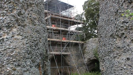 The scaffolding is up and repair work started this week on the semaphore tower.