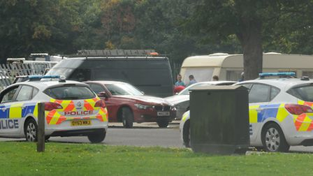 Police evict travellers from a site on Icknield Way