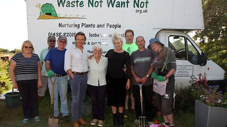 Waste Not Want Not volunteers with (fourth from right) singer Hal Fowler, founder Isobel Barnes and