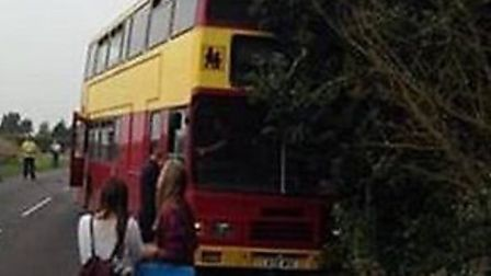 The crash happened in Hitchin Road at 3.14pm. Submitted via www.iwitness24.co.uk