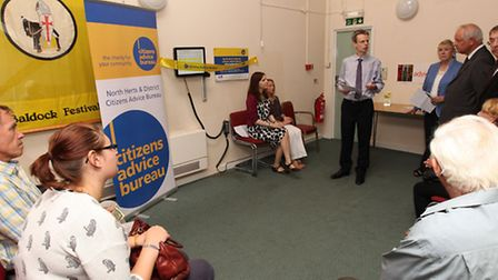 Chairman of trustees for North Herts district CAB Giles Woodruff welcomes visitors and guests to the