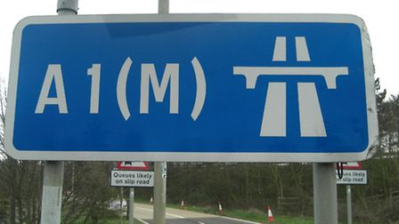A car collided with the central reservation of the A1(M) this morning