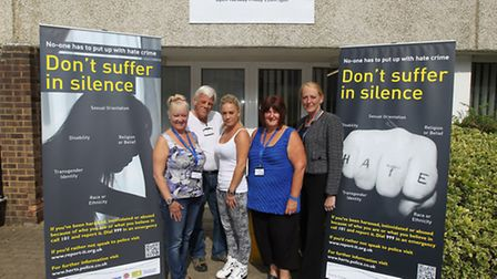 Jackie Nealon, founder, Barry Pearman, staff at the drop in centre, Zoe Theakston, Jackie's daughter