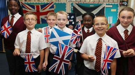 As the number of flags suggests, the Stevenage pupils voted overwhelmingly in favour of Scotland rem