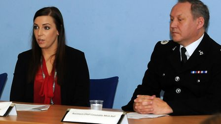 Independant domestic violence advisor Sarah Hill and assistant chief constable Mick Ball speaking at