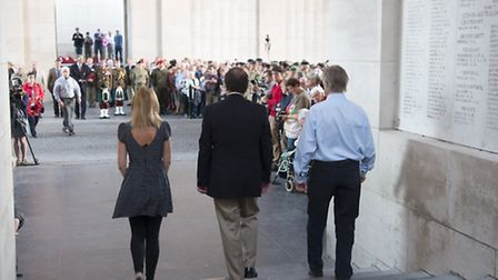 Kerry Hazelwood and Richard Waterhouse and Duncan Wang placed the crosses at the Menin Gate credit:
