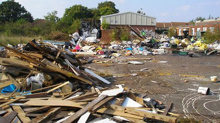 The destruction at the GW King site in Letchworth after the travellers left on Sunday night. Credit:
