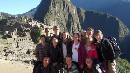 Friends' School students with their leaders at Machu Picchu.
