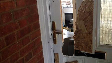 Police smashed their way into a flat today, Tuesday, on a drugs raid