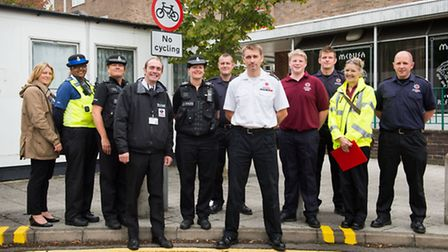 Representatives from the police, fire service and Stevenage Borough Council were in Stevenage town