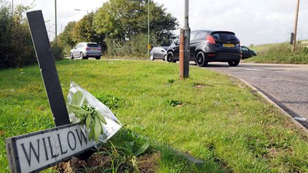 Floral tributes to Lee Coxhead left at the scene of the crash.