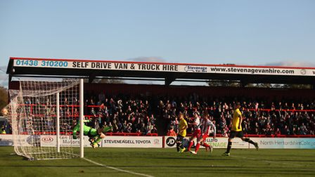 Charlie Adams' late, deflected winner hits the back of the net. Photo: Harry Hubbard