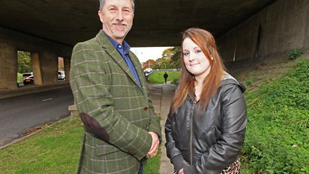 Tom Cracknell and Sarah-Louise Sheehan in the underpass where Tom and a colleague found Sarah-Louise