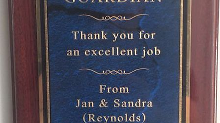 The plaque given to Guardian Consulting.
