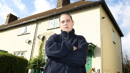 Lisa Albon outside her home in Letchworth which is infested with rats