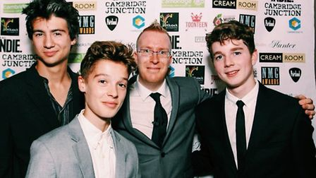 From left, Noah Bevington and his brother Ned at the NMG Awards night along with organiser Tim Wille